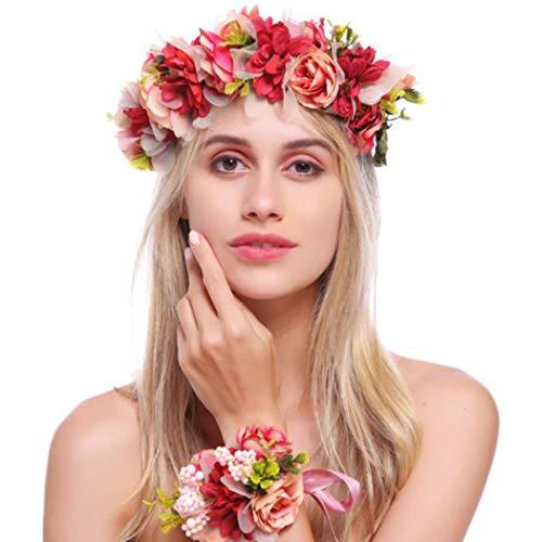 Simsly Boho Blumenkranz Krone Hochzeit Girlande Stirnband und Armband Blumen Haarschmuck für Damen und Mädchen