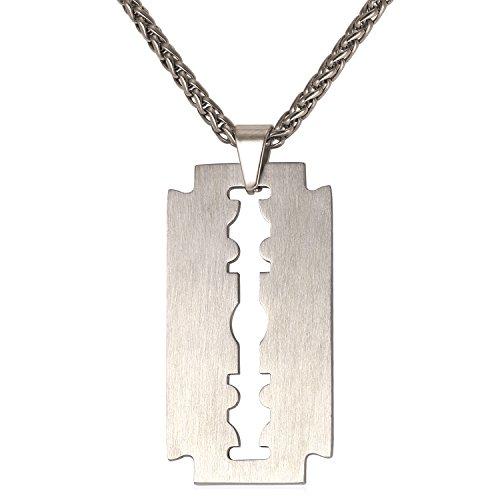 U7 Edelstahl Anhänger Rasierklinge Kettenanhänger mit 55cm Halskette Razor Blad matt gebürstet Geschenk für Männer Herren Freund Junge, Silber-Ton