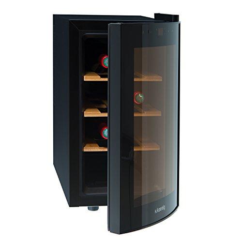 H.Koenig AGE8WV Wijnkoelkast, 8 flessen, 25 l, professioneel, roestvrij staal, wijncellar, elektrisch, multitemtemperatuur, 8 °C tot 18 °C, stil, binnenverlichting, 3 legplanken