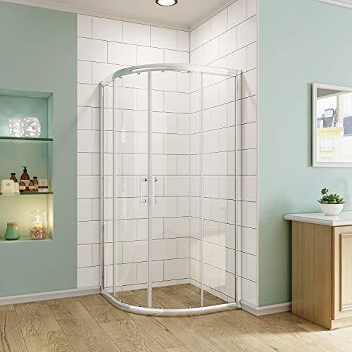SUNNY SHOWER Sliding Shower Door, Neo-Round Corner Frameless Shower Enclosure, 1/4 in. Clear Glass, Bathroom Double Sliding Glass Door, 36 7/10 in. D x 36 7/10 in. W x 71 4/5 in. H, Chrome Finish