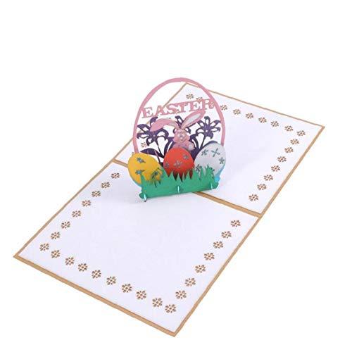 1pc Ostern-Karte 3D Osterhasen Und Eier Blumen Ausschnitte Pop Up Osterkarten Handmade Grußkarten Feiertags-Geschenk Für Ostern