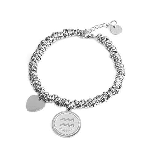 Flowers Armband aus Edelstahl, geflochten, mit rundem Sternzeichen-Anhänger und kleinem Herz-Anhänger, elegantes Armband mit Organza-Säckchen