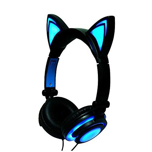 Cewaal Katzenohr Kopfhörer Kinder LED Licht Blinkt Glühende für Mädchen Faltbare Kabelgebundene Über Ohr Headset für TV, Handy, Laptop