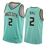 # 2 Charlotte Hornets Ball Men's Basketball Jersey, Secado rápido Transpirable Cómodo de Malla Competencia Chaleco Green-XXL