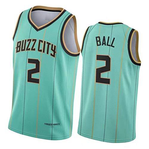 CLKI #2 Charlotte Hornets Ball - Camiseta de baloncesto para hombre, secado rápido, transpirable, cómoda, de malla, verde-XL