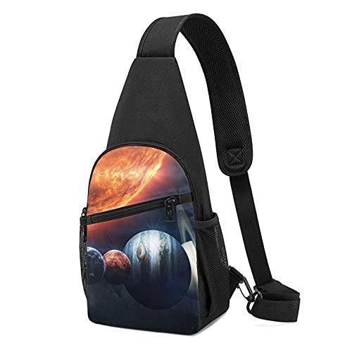 DJNGN Planet Sun Space Space Art Vadim Sadovski Sling Bag Crossbody Viaje Senderismo Pecho Mochila