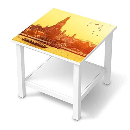 Möbelfolie selbstklebend passend für IKEA Hemnes Beistelltisch 55x55 cm I Möbelaufkleber - Möbel-Sticker Aufkleber Folie I Deko Wohnung für Schlafzimmer und Wohnzimmer - Design: Bangkok Sunset