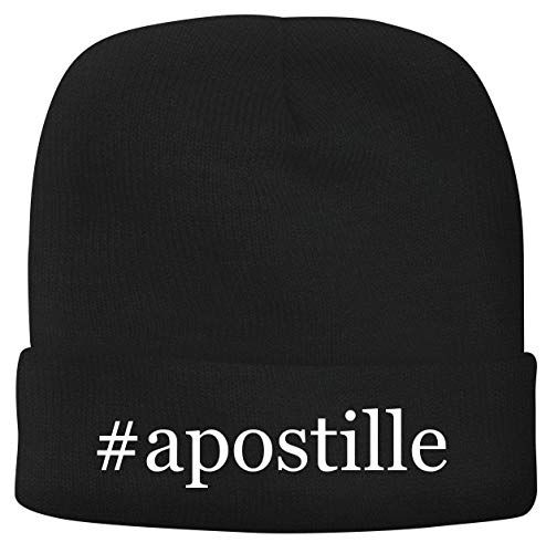 BH Cool Designs #Apostille - Men's Hashtag Soft & Comfortable Beanie Hat Cap, Black, One Size