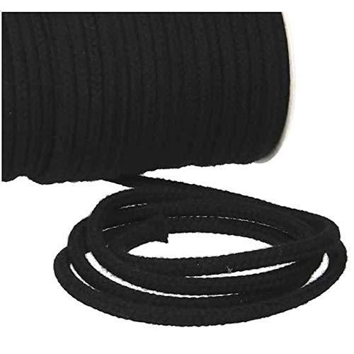 Turnbeutelliebe® Cordón 100 % algodón de 8 mm de ancho, grueso, para bolsas de deporte, bolsos y pantalones, para coser – muchos colores y longitudes – trenzado – cuerda – cinta (negro, 5)
