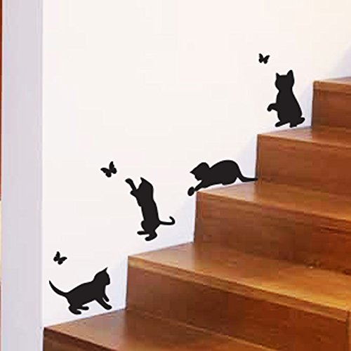 Chats Jouant Catching Butterflies Home Vinyl Wall Sticker Décor Decal Mural Kitchen Animaux Papier...