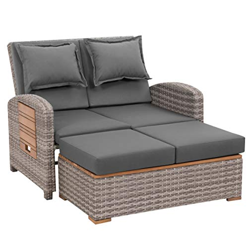 greemotion Rattan-Lounge Bahia Tobago, Gartensofa mit Bettfunktion, inkl. Hocker