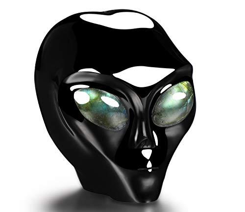 Skullis 2.0' Black Obsidian Star Being Female Alien Crystal Skull Companion with Labradorite Eyes, Hand Carved Gemstone Fine Art Sculpture, Reiki Healing Stone Statue