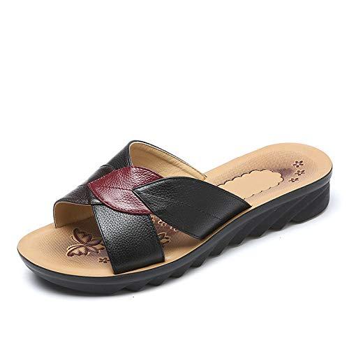 Sandalias de Playa Transpirables de Verano ,Zapatillas de mujer de verano a juego con el color, zapatos de tacón plano de gran tamaño para mujeres de mediana edad y ancianas antideslizantes-black_35