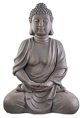 Worldconnection XXXL Großer Buddha 70 cm Garten Deko Figur Skulptur Feng Shui Steinfigur-Optik