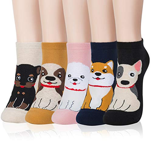 Kikiya Socks 5 Pairs of Women's Cute Ankle Socks Bow Wow | Cute Dog Socks Women | Short Socks Women | Animal Socks For Women | Poodle Socks For Women | Puppy Socks | Cute Animal Socks | Cotton Socks