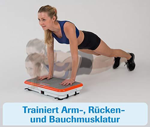 MediaShop VibroShaper – Fitness Vibrationsplatte unterstützt bei Muskelaufbau und Fettverbrennung – Vibrationstrainer für alle Muskelgruppen – inklusive Fitnessbänder – orange - 6