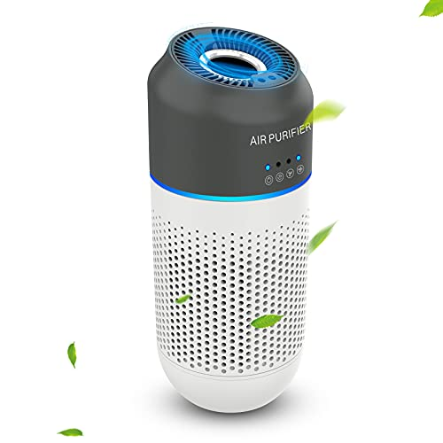 Mini Portable Car Air Purifier - True HEPA Filter Cleans Air with 4-Stage Filtration,Ideal for Traveling, Home, Car and Office Use