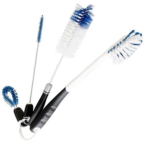 StarPack Premium Bottle Brush Set of 4 - Includes Long Water Bottle Brush, Beer/Baby Bottle Brush, Straw Cleaning Brush...
