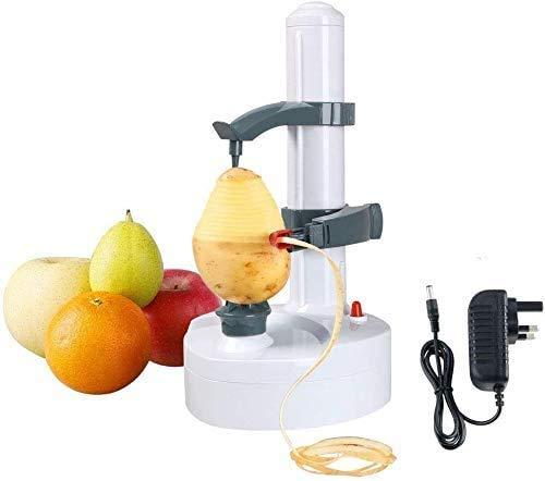 Acero Inoxidable eléctrico eléctrico automático pelador de Frutas y Verduras, máquina de pelar Patatas y Naranja, Herramienta de Cocina giratoria multifunción (Blanco)