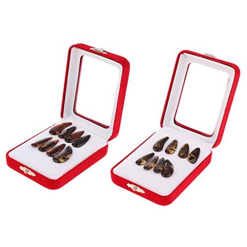 Tenlacum Guzheng Nails Chinese Zither Fingerpicks mit Aufbewahrungsbox (16 Stück)