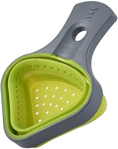 Cizen Scolapasta Set, 2Pz Pieghevole Scolapasta Silicone per Verdura Frutta Tagliatelle, Colino con Manico Estensibile (17,5 * 13cm)