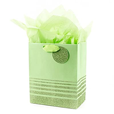 """Hallmark 9"""" Medium Gift Bag with Tissue Paper (Green Glitter Stripes) for Birthdays, Baby Showers, Weddings, Halloween or Any Occasion"""