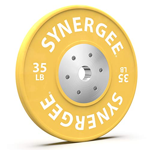 Synergee Competition Bumper Plate. 35lb Yellow Olympic Weight Plate with Steel Inserts. Low Bounce Rubber, Steel and Chrome Bumper Plate. Sold in Singles.