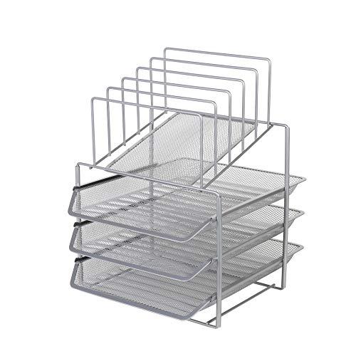 Exerz Bandejas de 3 capas de alambre con 5 separadores de malla/Bandeja oficina/Clasificador de papel/escritorio organizador/Bandeja Portadocumentos - Plata