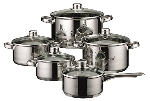 ELO Skyline Stainless Steel Kitchen Induction Cookware Pots and Pans Set with Air Ventilated...