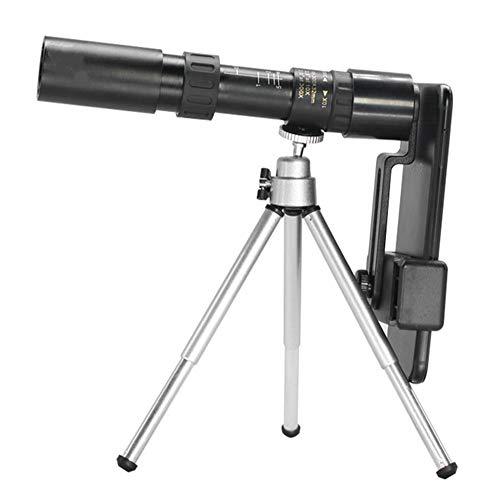 Fdrirect Telescópios monoculares com tripé, 4K 10-300X25mm Super Telephoto Zoom Telescópio monocular para viagens na praia para observação de pássaros/caça/acampamento/viagens/caminhadas