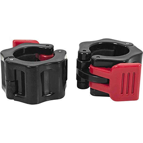 GORILLA SPORTS® Schnellverschlüsse für Hanteln 30/31 mm – 2er Set Hantelverschlüsse Kunststoff Rot/Schwarz