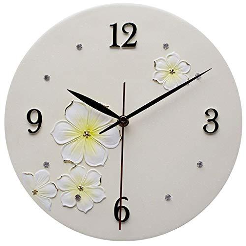BGHYU Relojes de Pared Reloj de Pared Redondo de Resina Blanca silenciosa de Personalidad for dormitorios de Sala de Estar, cocinas de Oficina, 11 Pulgadas, Duradero, práctico (tamaño : 11 Inch)