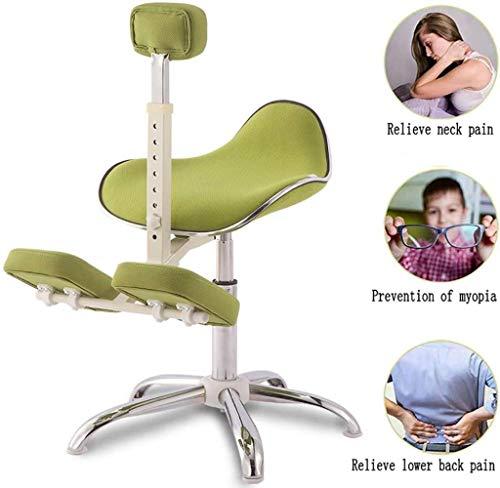 Silla ergonómica de rodillas, corrección de columna vertebral para niños, ergonómica, levantamiento de metal, antijorobado, postura ajustable, 8 marchas, azul, color: verde verde
