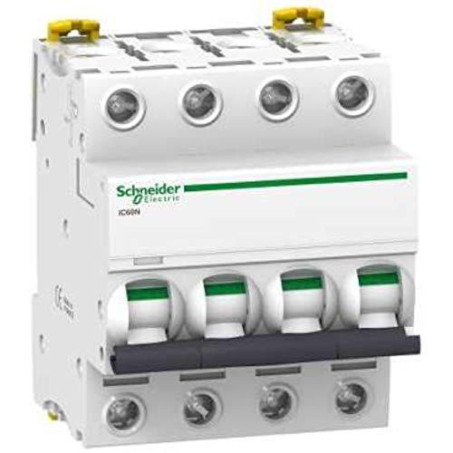 Schneider Electric A9F75420 Interruptor Automático Magnetotérmico Ic60N, 4P, 20A, Curva D