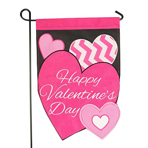 LAYOER Home Garden Flag 12 x 18 inch Applique Embroidered Heart (Happy Valentine's Day)
