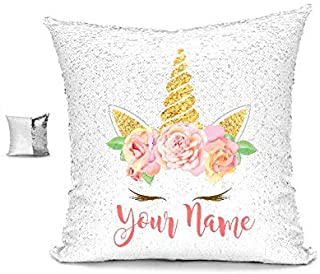 YUUNITY Personalized Unicorn Reversible Sequin Pillow, Custom Unicorn Sequin Pillow Gifts for Girls(White/Silver)