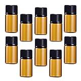 Topbathy 30 unidades. Botellas de vidrio marrón de 5 ml y tapa de cierre para aceites esenciales, bolsas de muestras químicas