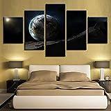 SGJKG Lienzo HD Impreso póster Obra de Arte 5 Piezas Tierra de la Luna Pintura Pared Arte Paisaje imágenes Modular Sala de Estar decoración del hogar
