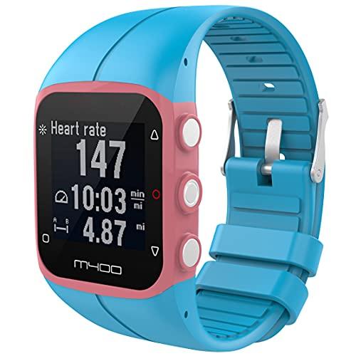 Kokymaker Reloj Pulsera de Repuesto reemplazo Correa Ajustable para Polar M400 / M430 Banda de Deportes Correa de Silicona (azul)