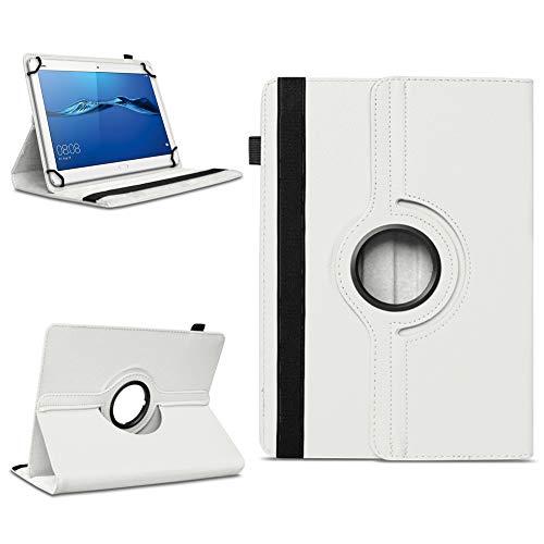 NAmobile Schutzhülle kompatibel für Huawei MediaPad T1 T2 T3 T5 10 Tablet Hülle Tasche Schutzhülle Hülle 360 Drehbar, Farben:Weiss