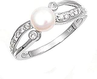 Sterling Silver Women's Simulated Pearl Clear CZ Ring Cute 925 Band Sizes 4-10