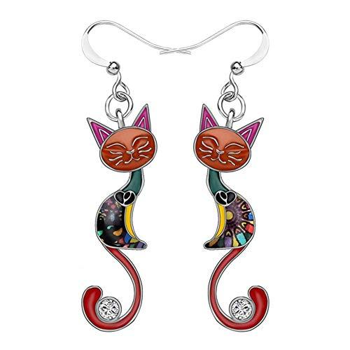 Divertido y colorido temperamento gatito gato colgante pendientes personalidad gato pendientes moda joyería animal vintage pendientes de gota boda fiesta nupcial flecos joyería regalo