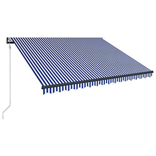 Tidyard Luifel Automatisch Uittrekbaar met LED Buiten Tuin Zonnescherm Luifel Gazebo Waterdicht Anti-UV 400X300 cm Blauw en Wit