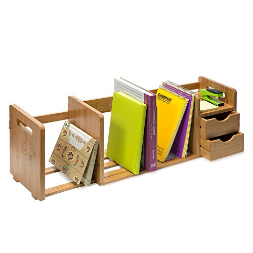 IDK Luxury - Bamboo Wood Desk Organizer Bookshelf Rack with Two Shelves, Three Wooden Expandable Book or File Compartments, Home, Office, Dorm, Desk Hutch