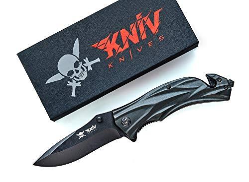 KNIV 3in1 Taschenmesser mit Glasbrecher und Gurtschneider - Outdoor Survival Klappmesser aus Edelstahl - Hochwertiges Messer - Sehr scharfes Einhandmesser Rettungsmesser
