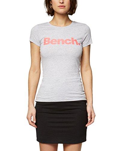 Bench Damen Slim Logo Tee T-Shirt, Grau (Summer Grey Marl Ma1026), X-Large (Herstellergröße: XL)