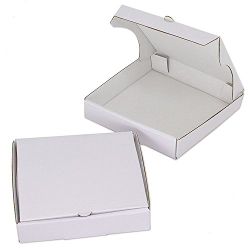 "5"" White Mini Pizza Boxes (Pack of 8) - Chica and Jo Brand - Square Cardboard Boxes 5 inch - Includes 4""x6"" Plastic Treat Bags"