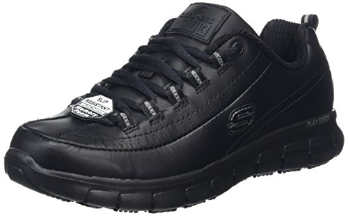 Skechers Sure Track-Trickel, Zapatos de Trabajo Mujer, Negro (BLK Black Leather), 38 EU