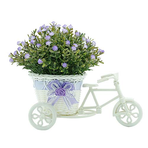 Lai-LYQ Mini Kunstmatige plant, bloem rotan mand driewieler sierplant voor thuis woonkamer tuinmeubelen kantoor party bureau decoratie roze