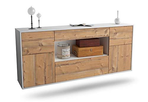Dekati Sideboard Visalia hängend (180x77x35cm) Korpus Weiss matt | Front Holz-Design Pinie | Push-to-Open | Leichtlaufschienen